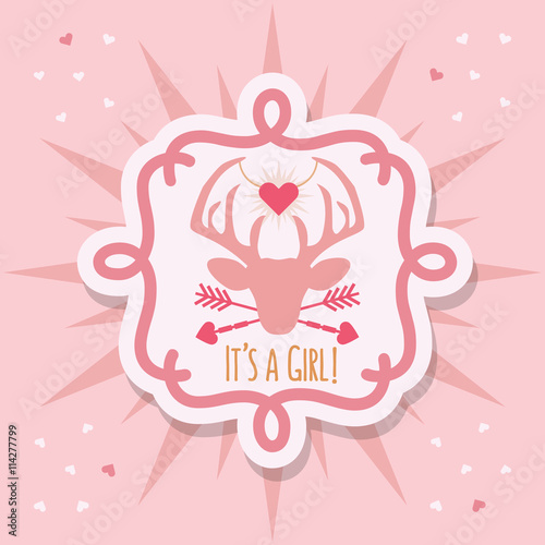 Cute Pink Baby Girl Deer Emblem Sticker Card With Its A Message On Background