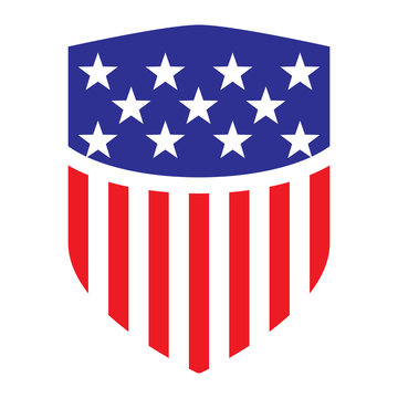 usa flag shield icon logo vector illustration. independence day. 4th of July