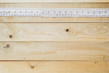 crafts concept, lace ribbon on wooden background