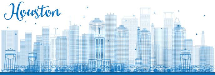 Outline Houston Skyline with Blue Buildings.
