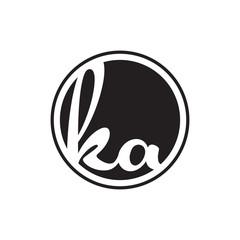 Obraz initial letter logo circle with ring ka - fototapety do salonu