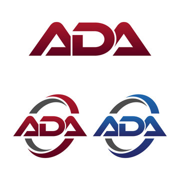 Modern 3 Letters Initial logo Vector Swoosh Red Blue ada