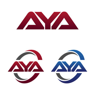 Modern 3 Letters Initial logo Vector Swoosh Red Blue aya
