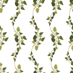 Vector green plants seamless pattern background
