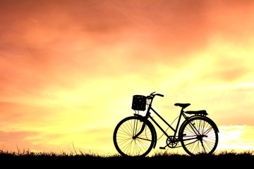 Silhouette bicycle at sunset