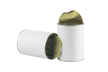 tin can with blank white label on white background
