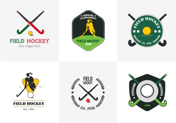 Field hockey logo set. Vector sport badges with woman silhouette, stick and hockey ball.