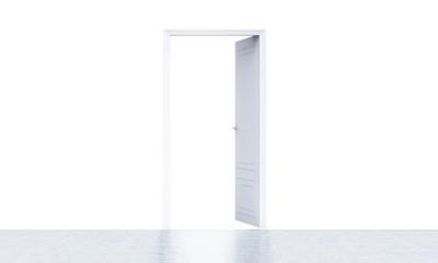 Open door in bright room