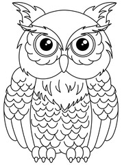 owls sitting for coloring