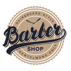 Barber shop retro vintage label, badge, emblem or logo.