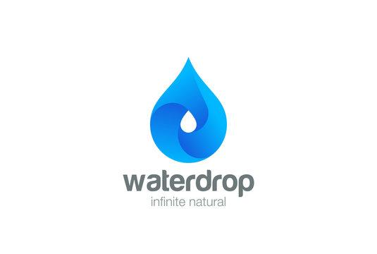 Water drop Logo vector Aqua droplet icon Natural beverage
