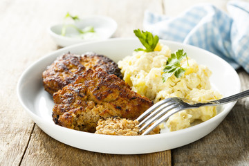 Cutlets with potato salad