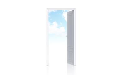 Open door with sky view