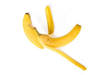 Banana peel isolated on white background.