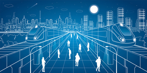 People walk on the square, two train move over bridges, night city in the background, business buildings, vector design art