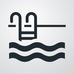 Icono plano piscina sobre fondo degradado