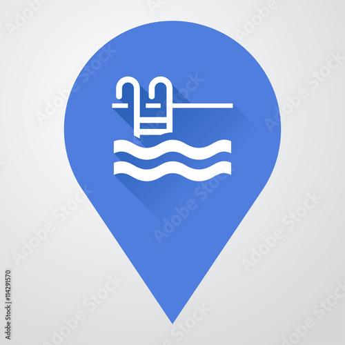 Icono plano localizacion con piscina con sombra stock for Plano piscina