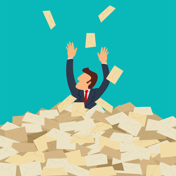 Businessman buried in letters, spam, overload concept