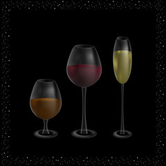 glasses with champagne, wine and whiskey on a black background