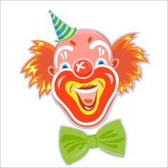 Happy fun smiling red-haired clown head isolated on white