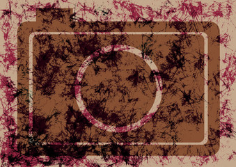 Abstract drawn grunge background with retro photo camera in brown colors. Texture with cracks, ambrosia, scratches, attrition. Series of Drawn Grunge, Oil, Pastel, Chalk Backgrounds.