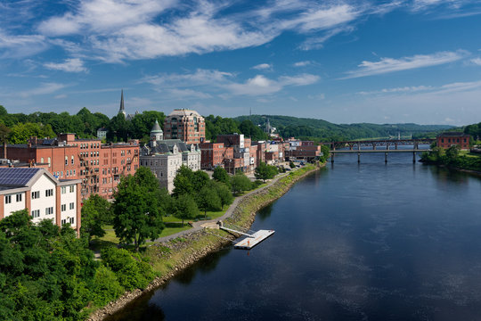 Downtown Augusta and the Kennebec River from the Memorial Bridge in Augusta, Maine