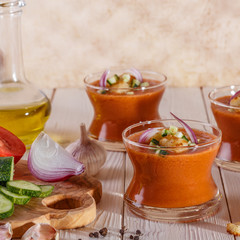 Spanish-style soup gazpacho made from tomatoes.