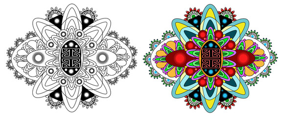 Vector Beautiful Deco Monochrome Contour Mandala, Patterned Design Element, Ethnic Amulet. Black and colored psychedelic mandala. Doodling style.
