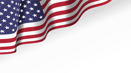 Waving American Stars and Stripes made in two colors isolated on white Wall mural