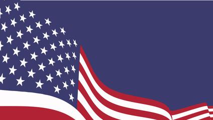 American  waving flag vector illustration