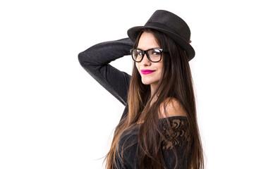 Beautiful latina brunette hipster girl on white background