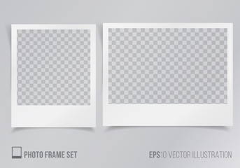 Set of polaroid frames with transparent background vector illustration, frames with shadow