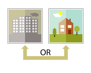 Picture-icon. Town or village, suburb. Choosing a place to live. Word Or and arrow - Stock Vector