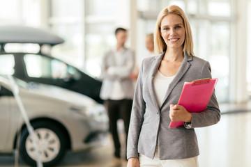 Professional salesperson at dealership