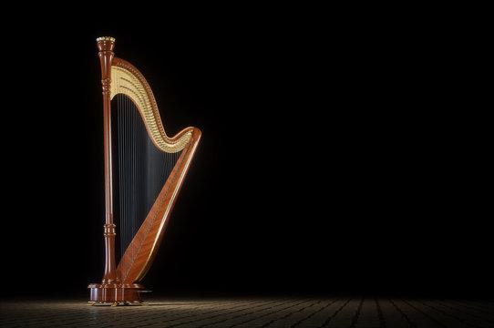 Harp aged on white 3D rendering