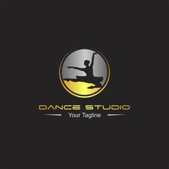 dance studio logo. Dancer logotype