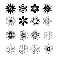 Flower black and white vector