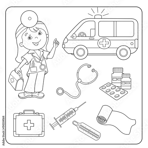 Doctor Bag Tools Coloring Page Sketch