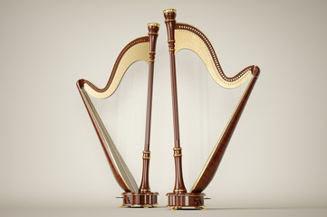 Harp aged on white 3D rendering