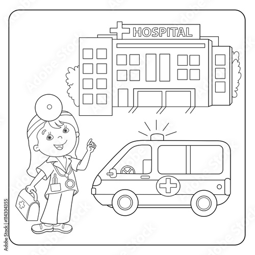 Coloring Page Outline Of Ambulance Car Near The Hospital Stock Image And Royalty Free Vector Files On Fotolia