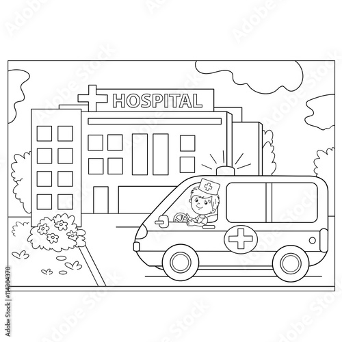 quotcoloring page outline of ambulance car near the hospital