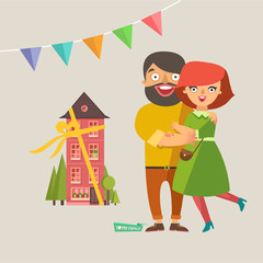 Happy home owner young Couple In Love smiling and embracing. A new house as gift and garlands on background. Vector colorful illustration in flat design