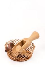 Kitchen wooden utensils background over white