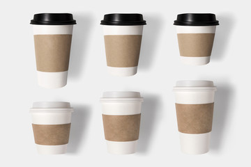 Design concept of mockup coffee cup set on white background.