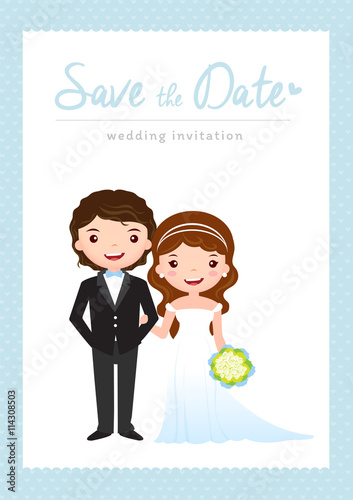 Wedding Invitation Card, Groom And Bride Cartoon Wedding Template