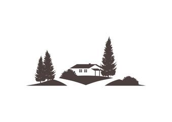 Vektor Icon mit Haus, Grundstück und Straße