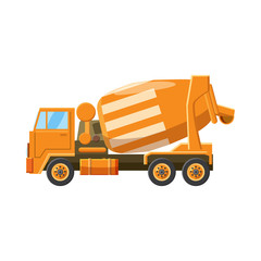 Orange truck concrete mixer icon, cartoon style