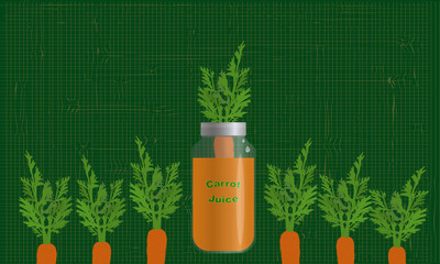 carrot in a jar of juice on the textile background