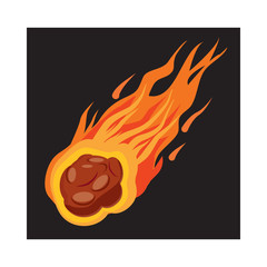 Falling meteorite icon, cartoon style
