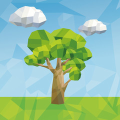 tree and cloud icon. Polygonal image. vector graphic